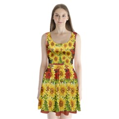 Sunflowers Flowers Abstract Split Back Mini Dress