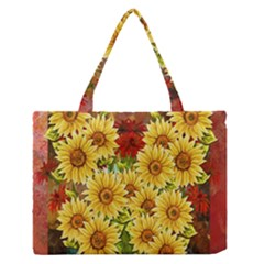 Sunflowers Flowers Abstract Medium Zipper Tote Bag
