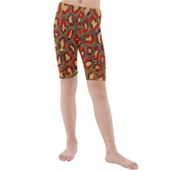 Stylized Background For Scrapbooking Or Other Kids  Mid Length Swim Shorts