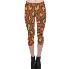 Stylized Background For Scrapbooking Or Other Capri Leggings