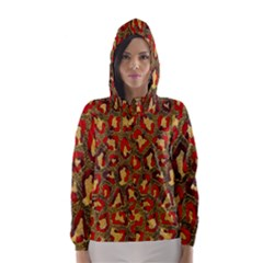 Stylized Background For Scrapbooking Or Other Hooded Wind Breaker (Women)