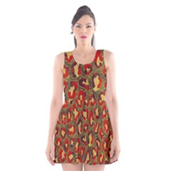 Stylized Background For Scrapbooking Or Other Scoop Neck Skater Dress