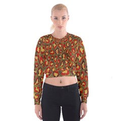 Stylized Background For Scrapbooking Or Other Women s Cropped Sweatshirt