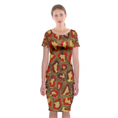 Stylized Background For Scrapbooking Or Other Classic Short Sleeve Midi Dress