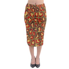 Stylized Background For Scrapbooking Or Other Midi Pencil Skirt