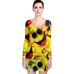 Abstract Background Backdrop Design Long Sleeve Bodycon Dress
