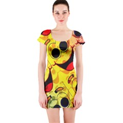 Abstract Background Backdrop Design Short Sleeve Bodycon Dress