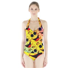 Abstract Background Backdrop Design Halter Swimsuit