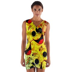 Abstract Background Backdrop Design Wrap Front Bodycon Dress