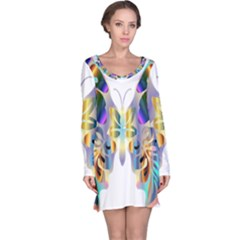 Abstract Animal Art Butterfly Long Sleeve Nightdress