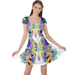 Abstract Animal Art Butterfly Cap Sleeve Dresses
