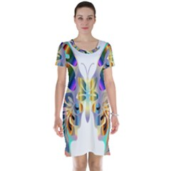 Abstract Animal Art Butterfly Short Sleeve Nightdress