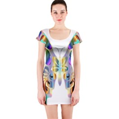Abstract Animal Art Butterfly Short Sleeve Bodycon Dress