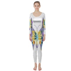 Abstract Animal Art Butterfly Long Sleeve Catsuit