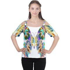 Abstract Animal Art Butterfly Women s Cutout Shoulder Tee