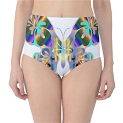 Abstract Animal Art Butterfly High-Waist Bikini Bottoms