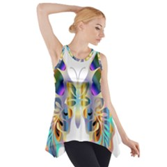 Abstract Animal Art Butterfly Side Drop Tank Tunic