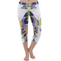 Abstract Animal Art Butterfly Capri Yoga Leggings