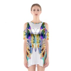 Abstract Animal Art Butterfly Shoulder Cutout One Piece