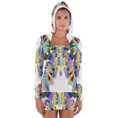 Abstract Animal Art Butterfly Women s Long Sleeve Hooded T Shirt