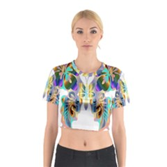 Abstract Animal Art Butterfly Cotton Crop Top