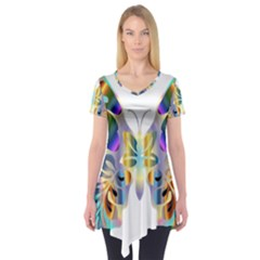 Abstract Animal Art Butterfly Short Sleeve Tunic