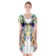 Abstract Animal Art Butterfly Short Sleeve V Neck Flare Dress