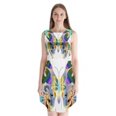 Abstract Animal Art Butterfly Sleeveless Chiffon Dress