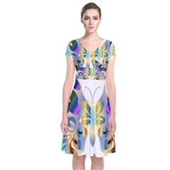 Abstract Animal Art Butterfly Short Sleeve Front Wrap Dress