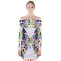 Abstract Animal Art Butterfly Long Sleeve Off Shoulder Dress