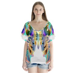 Abstract Animal Art Butterfly Flutter Sleeve Top