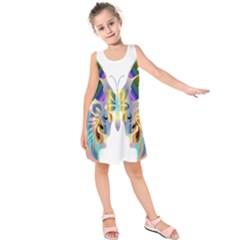 Abstract Animal Art Butterfly Kids  Sleeveless Dress