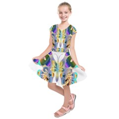 Abstract Animal Art Butterfly Kids  Short Sleeve Dress