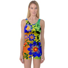 Abstract Background Backdrop Design One Piece Boyleg Swimsuit