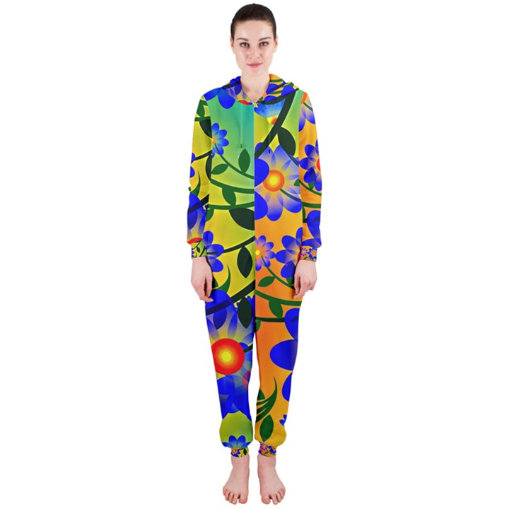Abstract Background Backdrop Design Hooded Jumpsuit (Ladies)