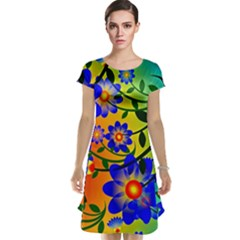 Abstract Background Backdrop Design Cap Sleeve Nightdress