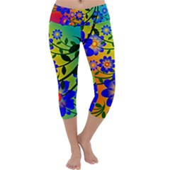 Abstract Background Backdrop Design Capri Yoga Leggings