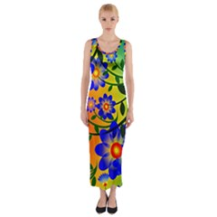 Abstract Background Backdrop Design Fitted Maxi Dress