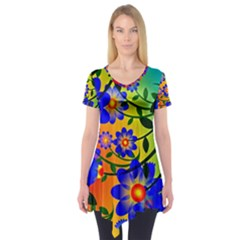Abstract Background Backdrop Design Short Sleeve Tunic