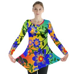 Abstract Background Backdrop Design Long Sleeve Tunic