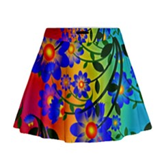 Abstract Background Backdrop Design Mini Flare Skirt