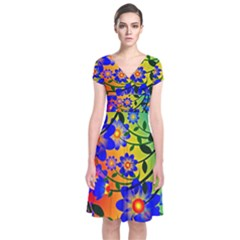 Abstract Background Backdrop Design Short Sleeve Front Wrap Dress