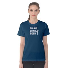 Blue real man drink beer  Women s Cotton Tee