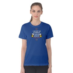 blue I am an alcoholic  Women s Cotton Tee