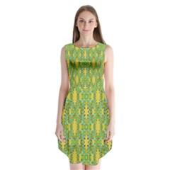 Ornate Modern Noveau Sleeveless Chiffon Dress
