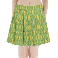 Ornate Modern Noveau Pleated Mini Skirt