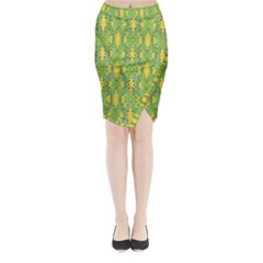 Ornate Modern Noveau Midi Wrap Pencil Skirt