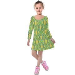 Ornate Modern Noveau Kids  Long Sleeve Velvet Dress