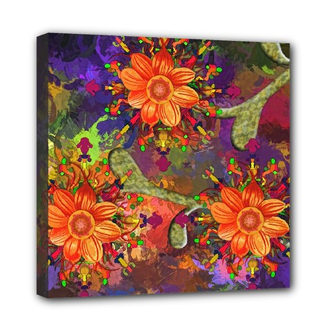 Abstract Flowers Floral Decorative Mini Canvas 8  X 8