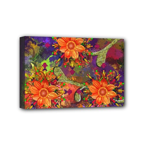 Abstract Flowers Floral Decorative Mini Canvas 6  x 4